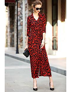 Bő Ruha Női Egyszerű Alkalmi Casual/hétköznapi Szabadság,Egyszínű Virágos V-alakú Maxi Fél hosszú ujjú Piros Fekete Pamut Poliészter