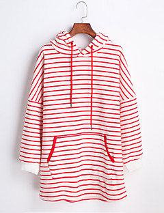 Women's Going out Casual/Daily Hoodie Striped Round Neck Micro-elastic Polyester Long Sleeve Winter