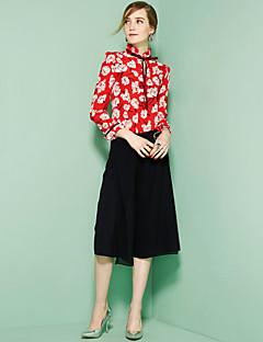 Damen Blumen Niedlich Lässig/Alltäglich Hemd,V-Ausschnitt Langarm Rot Seide