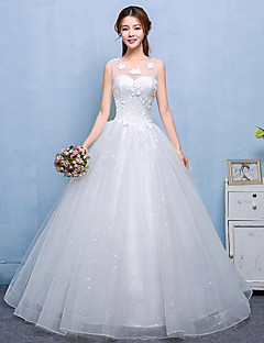 Ball Gown Wedding Dress - Chic & Modern Simply Sublime Floor-length Scoop Lace Satin Tulle with Lace