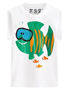 T-shirt Afslappet/Hverdag Strand Sport Ensfarvet Trykt mønster,Bomuld Sommer Kortærmet