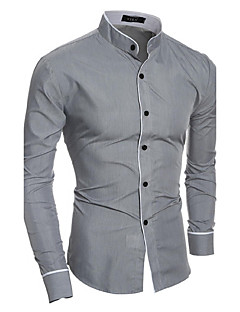 Men's Casual/Daily Simple All Seasons Shirt,Solid Standing Collar Long Sleeves Cotton Polyester