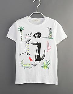 Gutt Fritid/hverdag T-skjorte Trykt mønster Bomull Sommer Kortermet Normal
