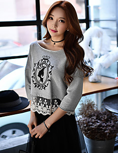 Women's Casual/Daily Sports Going out Active Simple Street chic Sweatshirt Print Color Block Lace Mesh Round Neck Micro-elastic Cotton Polyester