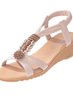 Women's Sandals Comfort PU Spring Casual Comfort Flat Heel White Black Flat