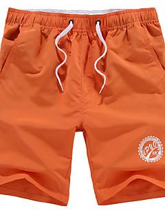 Herren Gerade Kurze Hosen Hose,Lässig/Alltäglich Einfach einfarbig Mittlere Hüfthöhe Kordelzug Baumwolle Micro-elastisch Sommer