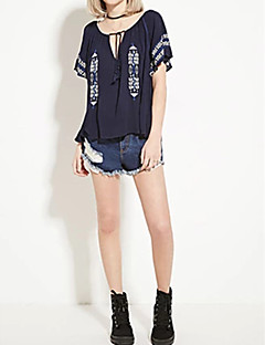 Women's Going out Casual/Daily Sexy Simple Street chic Spring Fall Shirt,Print Embroidered V Neck Short Sleeve Cotton Medium