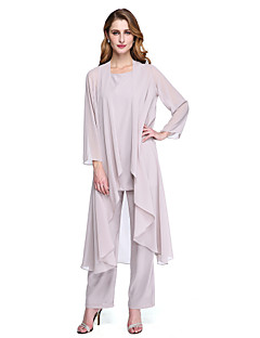 LAN TING BRIDE Sheath / Column Mother of the Bride Dress - Wrap Included Ankle-length Long Sleeve Chiffon with Pleats