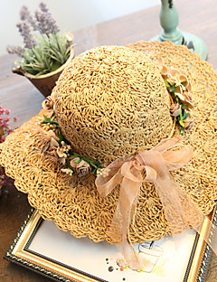 Women's Brim Floppy Handmade Flower Straw Hat Sun Hat Beach Cap Garland Lace Casual Holiday Summer