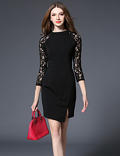 Women's Going out Holiday Simple Street chic Sheath Dress,Solid Lace Round Neck Above Knee ¾ Sleeve Cotton Black Spring Fall High Rise