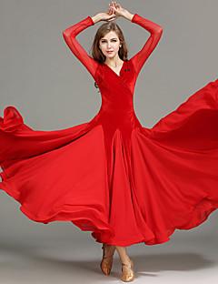Ballroom Dance Women Performance Tulle Velvet Draped Splicing 1 Piece Long Sleeve Natural Dress
