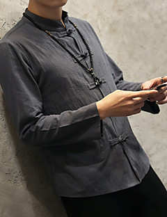 Bomull Lin Medium Langermet,Opprett krage Skjorte Ensfarget Vår Høst Vintage Fritid/hverdag Herre