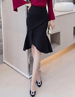 Damen Übergrössen Röcke,Bodycon Trompete/Meerjungfrau einfarbig Rüsche Geschlitzt,Ausgehen Arbeit Niedlich Hohe Hüfthöhe Asymmetrisch