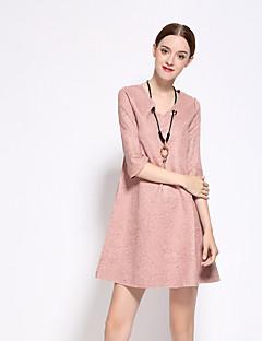 Günlük/Sade Dışarı Çıkma Sade A Şekilli Elbise Solid,½ Kol Uzunluğu V Yaka Diz-boyu Pembe Polyester Bahar Sonbahar Normal Bel Esnemez Orta