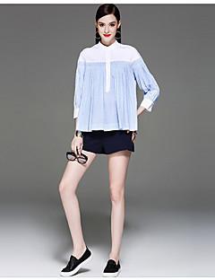 Feminino Camisa Social Para Noite Casual Fofo Primavera Outono,Listrado Algodão Colarinho Chinês Manga ¾ Fina