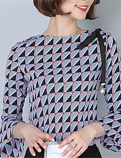 Kadın Orta Polyester ¾ Kol Uzunluğu Yuvarlak Yaka Bahar Pötikare Sokak Şıklığı Dışarı Çıkma Günlük/Sade Çalışma-Kadın Gömlek