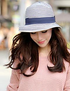 Women Fashion Straw Bucket Hat Straw Hat Sun Hat Beach Cap Casual Stripe Bowknot Summer Holiday