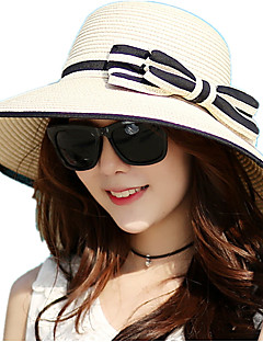 Summer Ladies Shade Sunscreen Woven Straw Bow Beach Outdoor Travel Hat