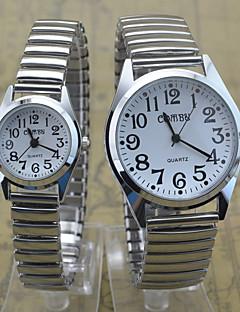 Herren Damen Paar Armbanduhr Quartz Edelstahl Band Bequem Silber