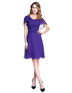 LAN TING BRIDE גזרת A שמלה לאם הכלה - גב יפהפייה באורך  הברך ללא שרוולים שיפון - סיכה מקריסטל סלסולים