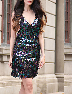 Women's Casual/Daily Sexy Cute Sheath Dress,Solid Sequins V Neck Above Knee Sleeveless Polyester Blue Black Gold Silver Spring SummerHigh