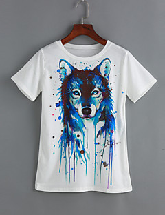 Sommar Tryck Kortärmad Ledigt/vardag T-shirt,Gullig Dam Rund hals Bomull Polyester Tunn Vit