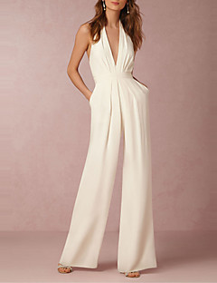 Women's High Rise Casual/Daily Club Jumpsuits,Sexy Simple Wide Leg Solid Summer