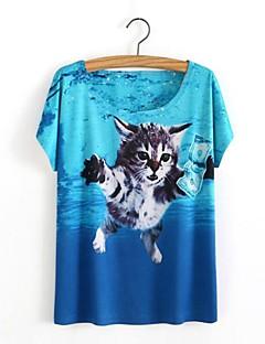カジュアル/普段着 春 夏 Tシャツ,シンプル キュート ラウンドネック プリント ブルー コットン 半袖 スモーキー