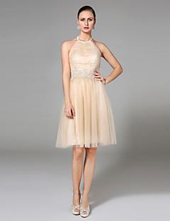 LAN TING BRIDE A-vonalú Esküvői ruha - Divatos és modern Open Back Színes menyasszonyi ruhák Térdig érő Nyakpánt Tüll val velRátétek
