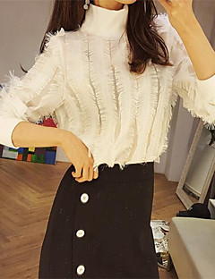 Women's Casual/Daily Sexy Spring Fall T-shirt,Solid Round Neck Long Sleeve White Black Polyester Medium