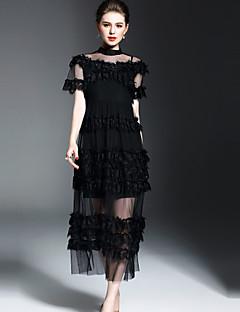 Damen Hülle Kleid-Ausgehen Street Schick Solide Rundhalsausschnitt Midi Kurzarm Polyester Frühling Sommer Mittlere Hüfthöhe