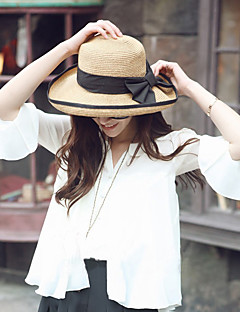 Women Sweet Straw Sun Beach Wide-brimmed Hat Bowknot Casual Summer