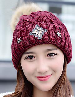 Frauen Winter gestrickte lässig Curling Diamant Stern Wolle Wollmütze gedruckt