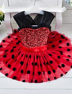 Mädchen Kleid Punkte Baumwolle Polyester Sommer Ärmellos