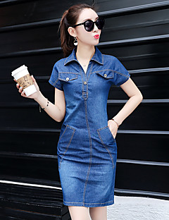 Sign denim dress 2017 Korean version of the new V collar short-sleeved denim dress thin to do the old woman