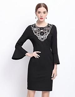 Kadın Dışarı Çıkma Sofistike Kılıf Elbise Kırk Yama,¾ Kol Uzunluğu Yuvarlak Yaka Diz üstü Siyah Pamuklu Kış Normal Bel Esnemez Orta
