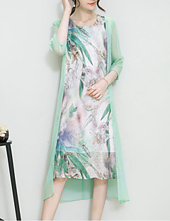 Women's Plus Size Going out Sophisticated Loose Dress,Print Round Neck Asymmetrical ½ Length Sleeve Silk Linen Green Spring SummerMid