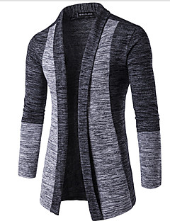 Going out Street chic Regular Cardigan,Color Block V Neck Long Sleeve Brown Gray Cotton Spring Winter Micro-elastic