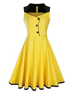 קיץ סתיו כותנה פוליאסטר בז' ירוק צהוב סגול ללא שרוולים מידי א-סימטרי אחיד מתוחכם יום יומי\קז'ואל שמלה נדן נשים,גיזרה בינונית (אמצע)