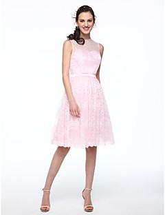 LAN TING BRIDE Knee-length Jewel Bridesmaid Dress - Elegant Sleeveless Chiffon Lace