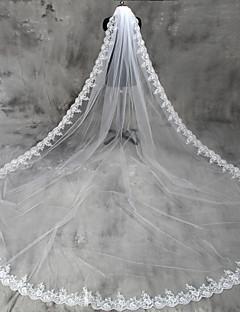 Závoje Jedna vrstva Závoj délky katedrála Krajkové lemování Tyl
