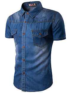 Men's Casual/Daily Simple Summer Shirt,Solid Shirt Collar Short Sleeve Blue Cotton Rayon Thin