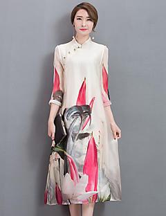 Swing Ruha Női Vintage Kínai Casual/hétköznapi Formális,Virágos Állógallér Térdig érő ¾-es ujjú Fehér Selyem Tavaszi Nyári Közepes derekú