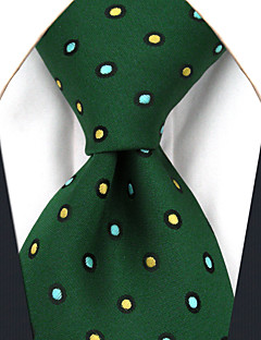 Muž Hedvábí Vintage Roztomilý Party Pracovní Na běžné nošení Kravata,Puntíky Zelená