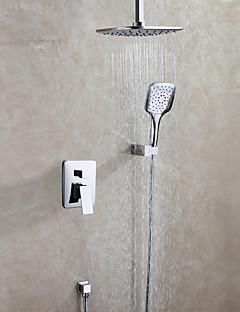 Zeitgenössisch Duschsystem Regendusche Handdusche inklusive with  Keramisches Ventil Zwei Griffe Drei Löcher for  Chrom , Duscharmaturen