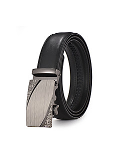 Men's Suits Dress Black Silver Automatic Belt Buckles Black Leather Waist Belt Strap