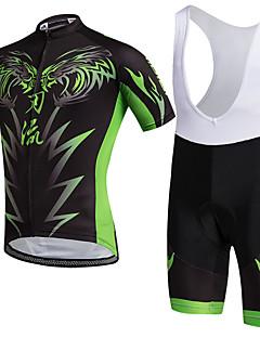 Camisa com Bermuda Bretelle Unissexo Manga Curta MotoRespirável Secagem Rápida Á Prova-de-Pó Vestível Compressão Bolso Traseiro Elástico