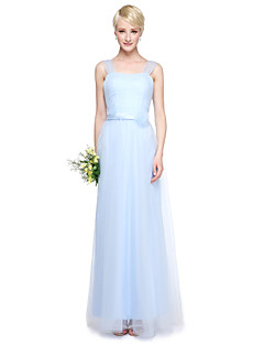 Floor-length Tulle Mix & Match Sets Bridesmaid Dress - Sheath / Column V-neck with Crystal Detailing