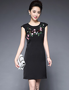 YBKCP Women's Going out Chinoiserie A Line DressFloral Round Neck Above Knee Sleeveless Polyester Spring Summer Mid Rise Inelastic Medium
