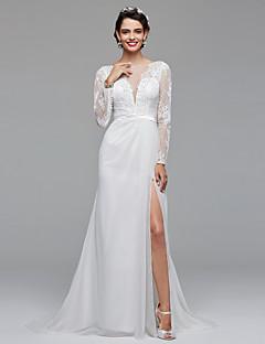 LAN TING BRIDE A-라인 웨딩 드레스 오픈백 플로럴 레이스 스윕 / 브러쉬 트레인 보트넥 쉬폰 레이스 와 레이스 허리끈 / 리본 옆면 드레이프트